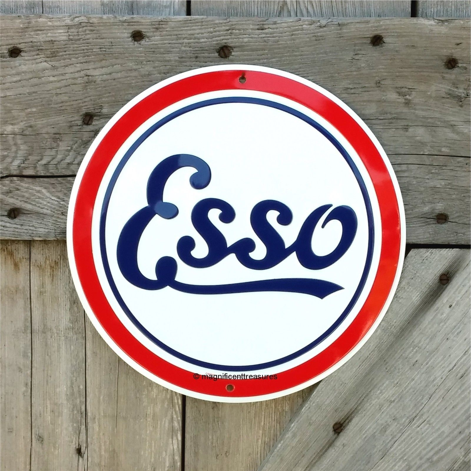 "Details About ""ESSO"" ROUND CIRCLE SIGN GASOLINE GAS PUMP"
