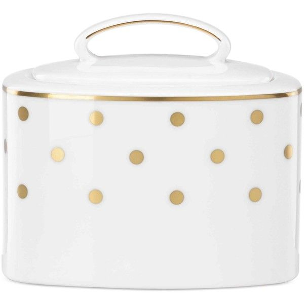 kate spade new york Larabee Road Gold Collection 2-Pc. Bone China... ($135) ❤ liked on Polyvore featuring home, kitchen & dining, serveware, white, white sugar bowl, white bone china, lidded sugar bowl, kate spade and white serveware