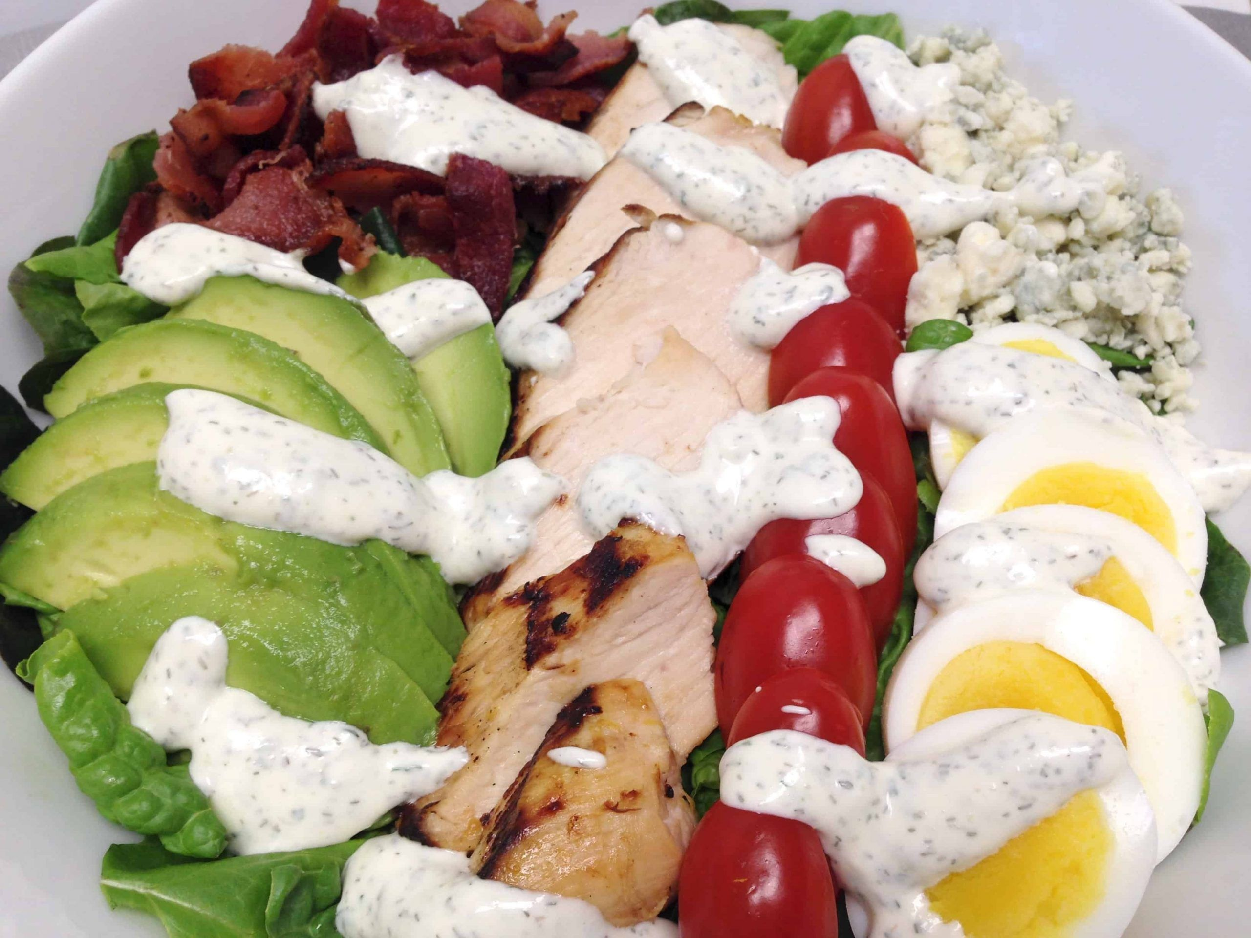 Cobb salad with homemade ranch dressing keto and low