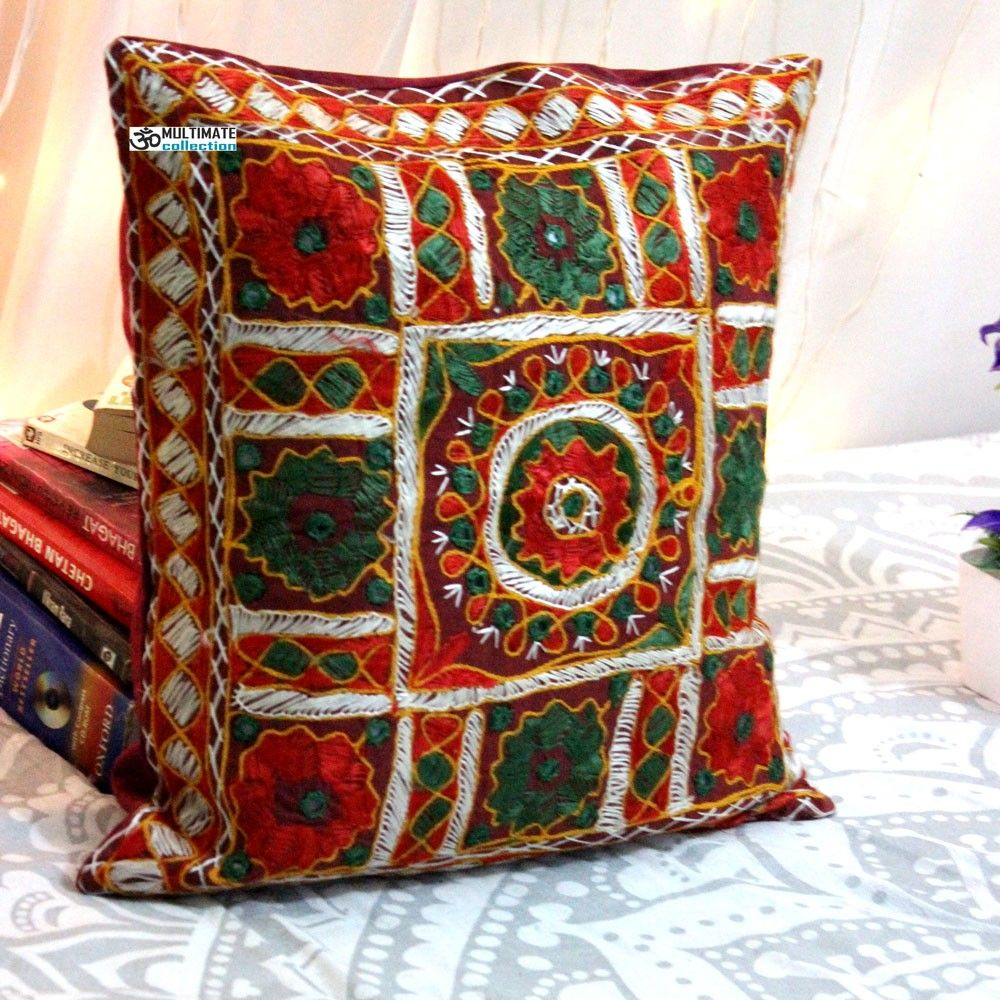Multicolor Embroidered and mirror work pillow Model 3 ...