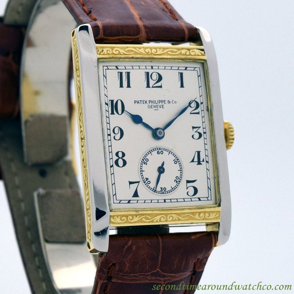 agent around rectangular a unique shape paris guillermin men watches with vintage s philippe watch mollet time patek for yellow second gold case sale made