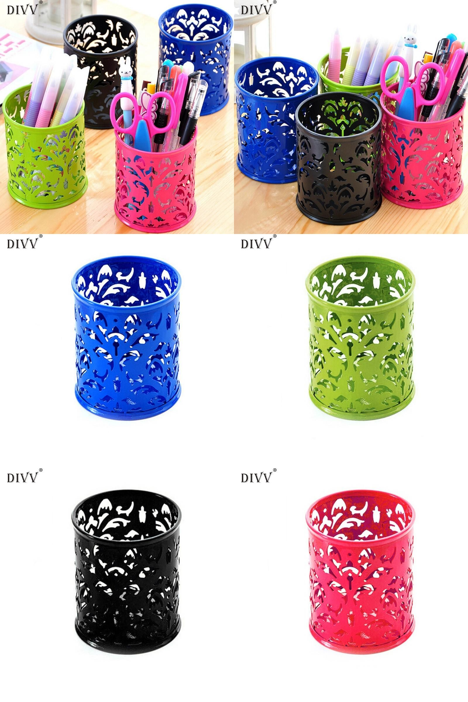 [Visit to Buy] DIVV Pen Holder Makeup Brush Vase Pattern Brush Pot Pen Holder Stationery Storage 1PC #Advertisement