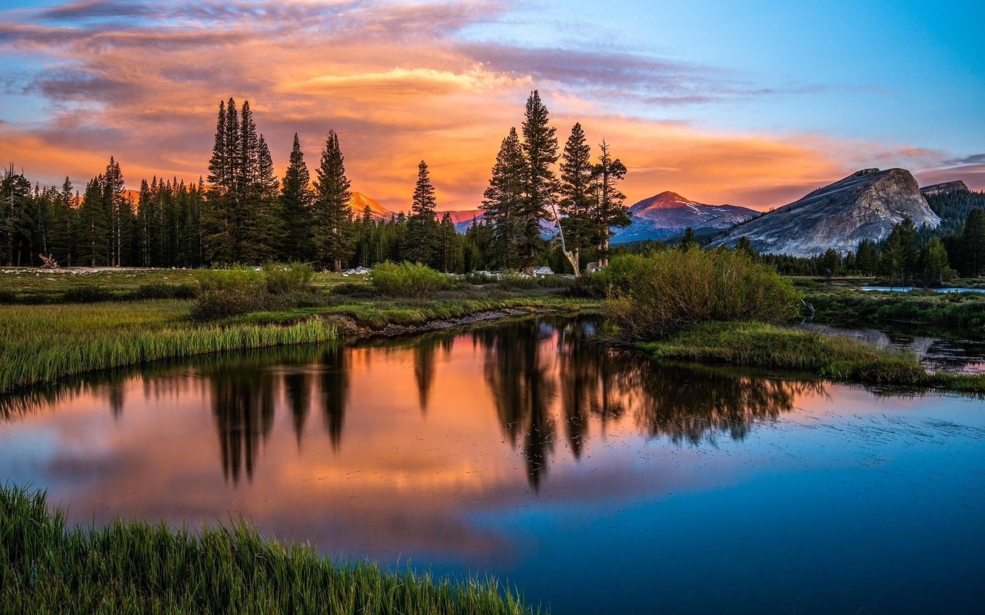 Nature Sky Mountain Lake Sunset Orange sunset Cloud Tree