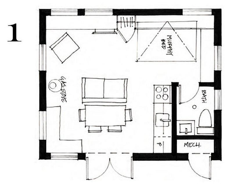 400 Sq Ft Small Cottage By Smallworks Studios Tiny House Floor Plans Guest House Plans Cottage Floor Plans