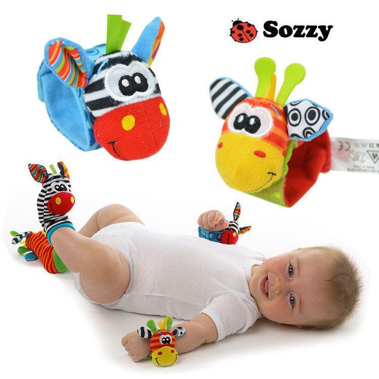 New Baby Infant Soft Toy Developmental Wrist Strap Foot Socks Rattle Bug Finders