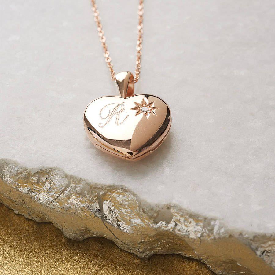 Hurleyburley Personalised Genuine Diamond Rose Gold Locket Locket
