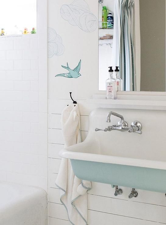 Turquoise Blue Bathroom Features Upper Walls Clad In Hygge West Daydream French Wallpaper And Lower Shiplap Lined With A
