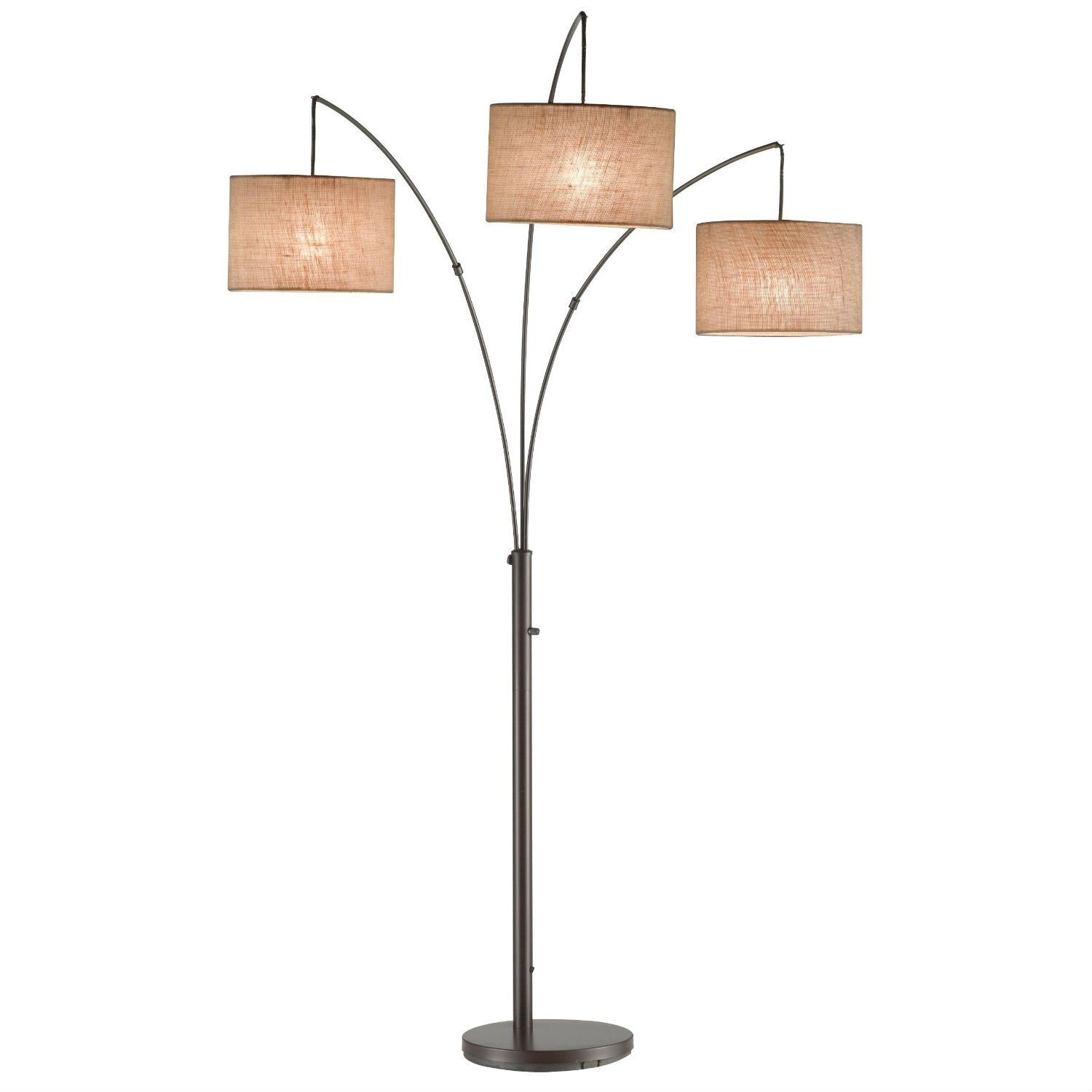 3 light arch floor lamp in antique bronze with drum style shades modern 3 light arch floor lamp in antique bronze with drum style shades aloadofball Choice Image