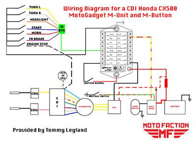 Here's a wiring diagram for the MotoGadget Munit and Mbutton for a Honda CX500 with CDI, 1978