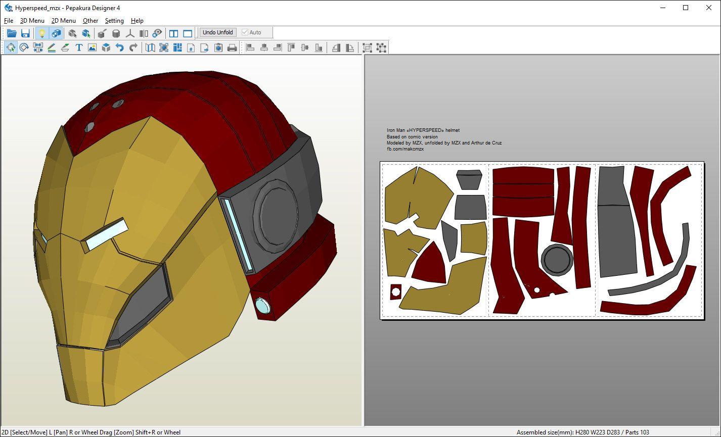 Hyperspeed Iron Man helmet Pepakura pattern DIY by MaxCrft on Etsy