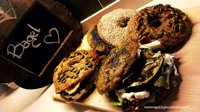 Mamma Grizzly in cucina: BAGEL WITH LOVE - integrale con farcitura vegetari...