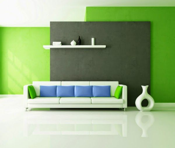 living room color schemes ideas green wall paint blue pillows