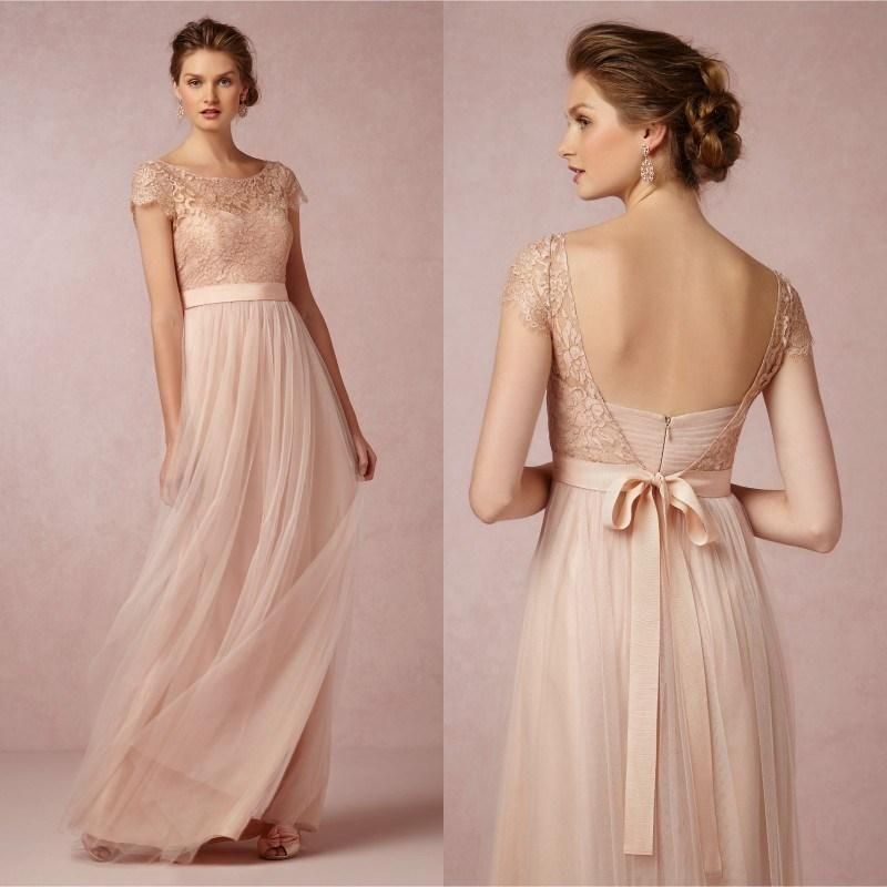 2015 Cheap Lace Long Bridesmaid Dress Blush Pink Scoop Short Sleeves ...