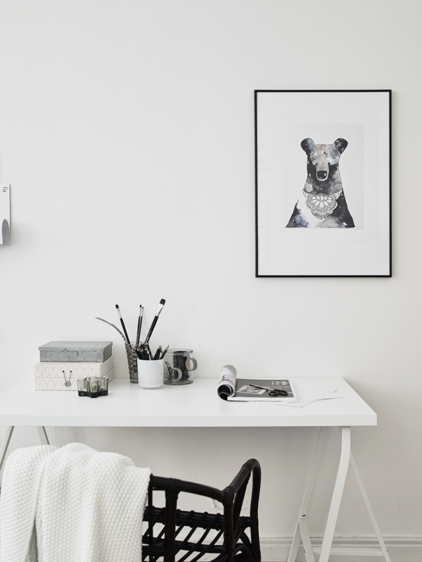 monochrome home office. | www.theposterclub.com.
