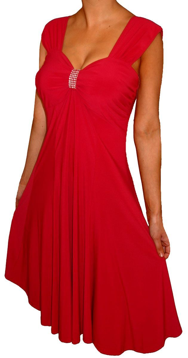 Plus Size Women Empire Waist A Line Slimming Cocktail Dress Made In