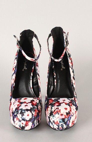 Floral Ankle Strap Almond Toe Stiletto Pump
