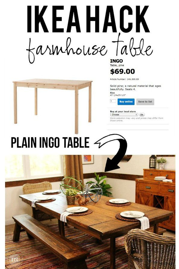 IKEA Hack   Farmhouse Table  Love love love IKEA Hack   Farmhouse Table  Love love love    DIY Projects  . Dining Table Ikea Hack. Home Design Ideas