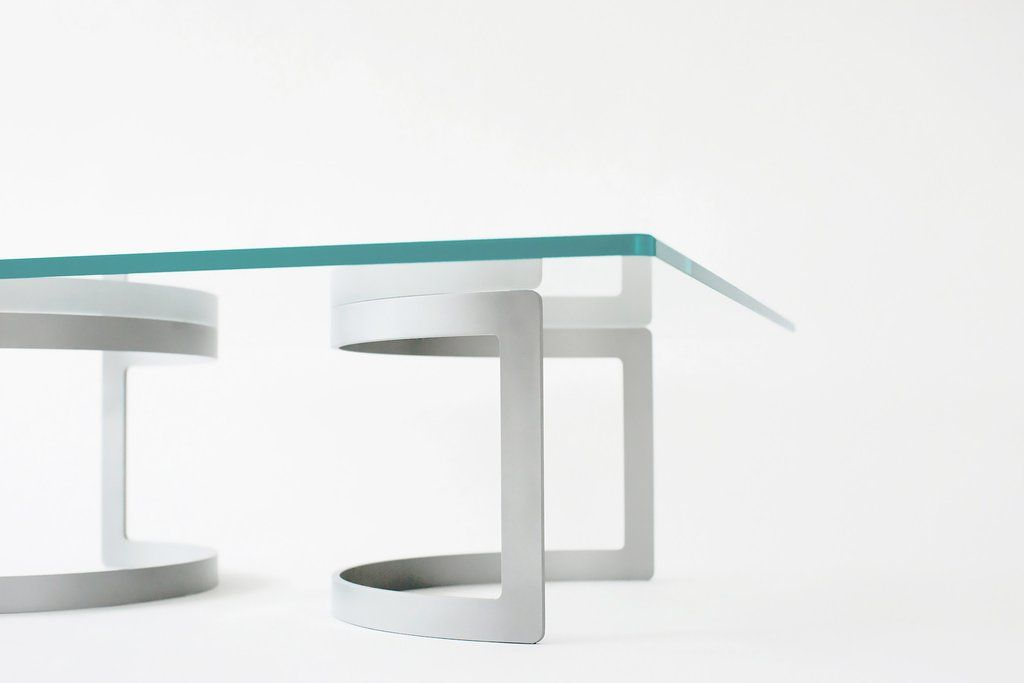 Square Glass Coffee Table With Curving Aluminum Bases The Cc