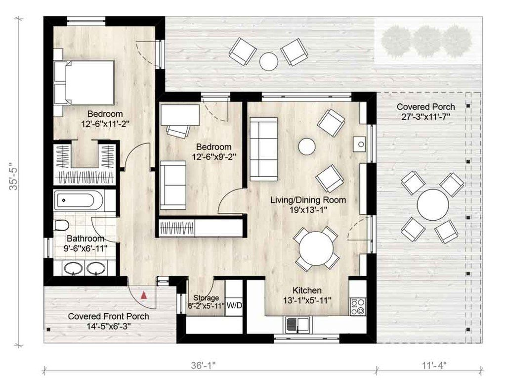 Modern Style House Plan   Beds  Baths  SqFt Plan