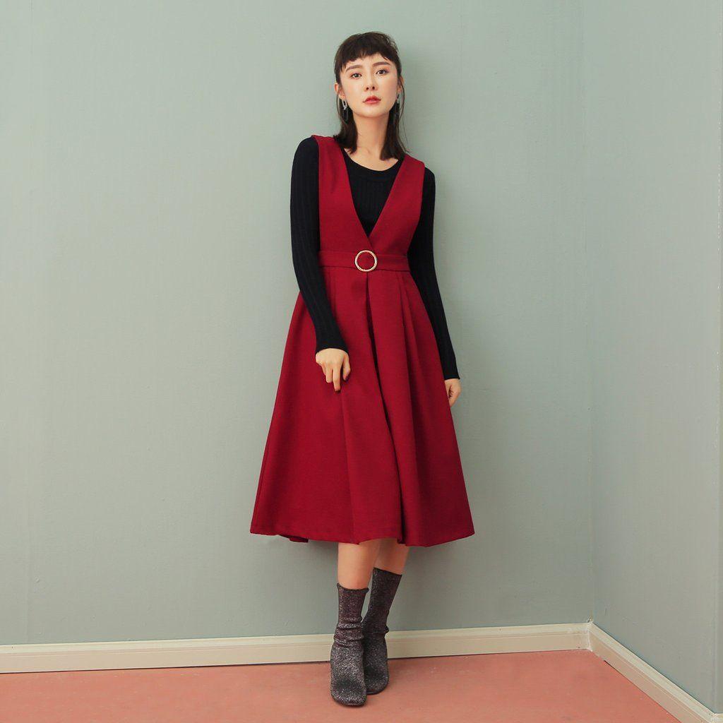 Retro strap dress knit piece set u larmoni lds modest fashion