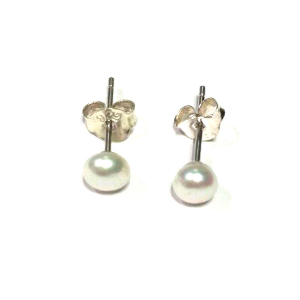 925 Sterling Silver Round Pearl Daily Use Push Back Stud Earrings ...
