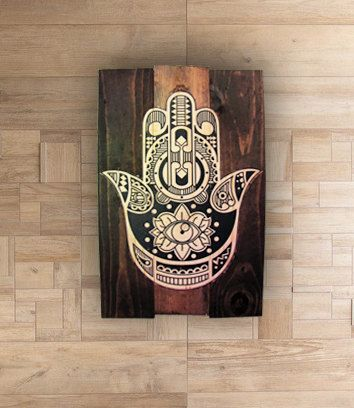 Wall Art, Hamsa Hand, Wood Wall Art, Home Decor, Rustic Decor