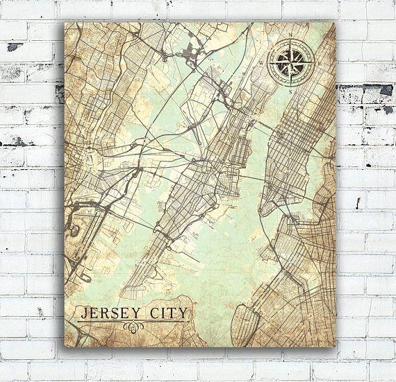 Jersey city nj canvas print new jersey city vintage map wall jersey city nj canvas print new jersey city vintage map wall gumiabroncs Choice Image