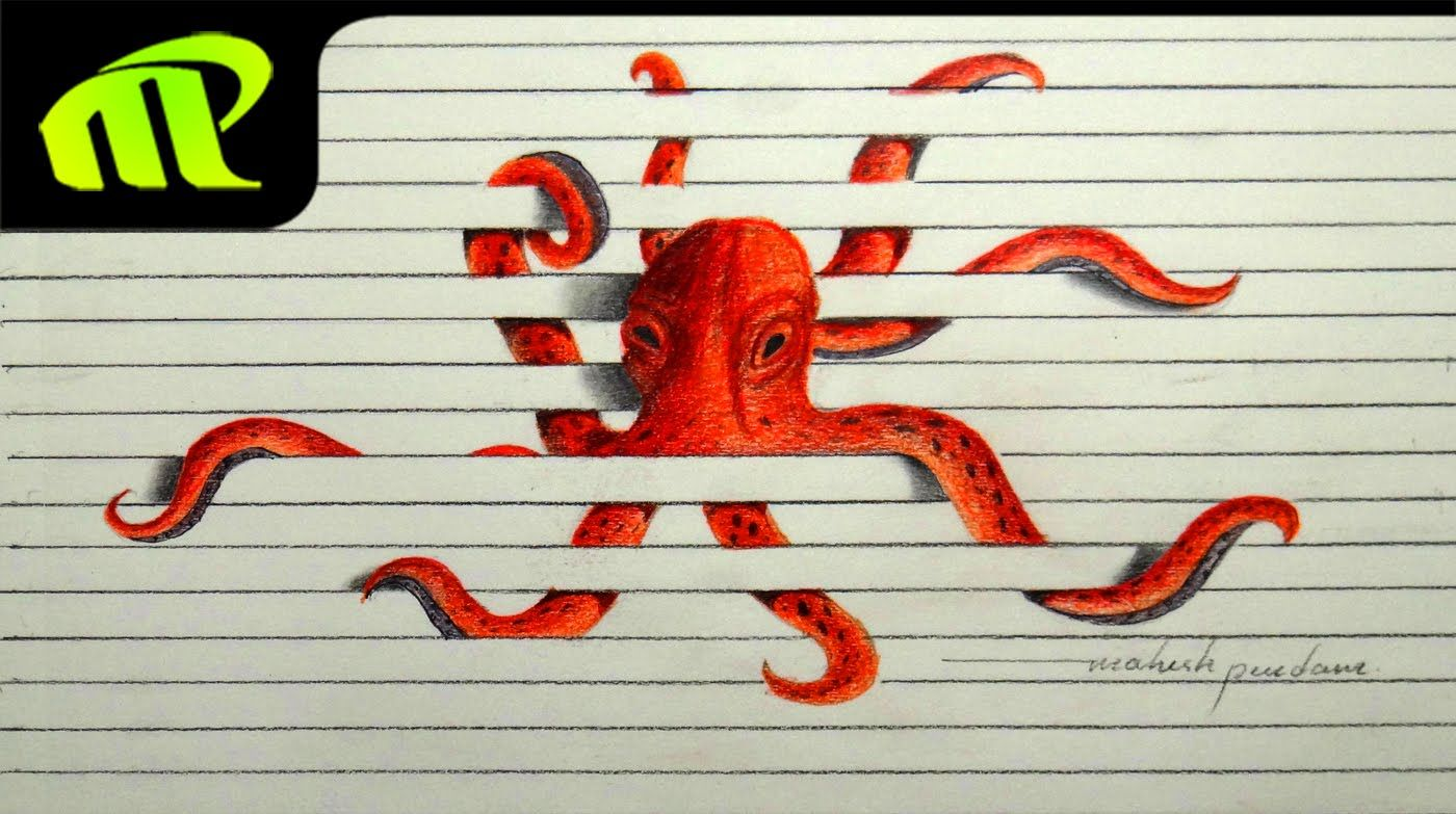 3d Paper Illusion Octopus Drawing Time Lapse Trick Art
