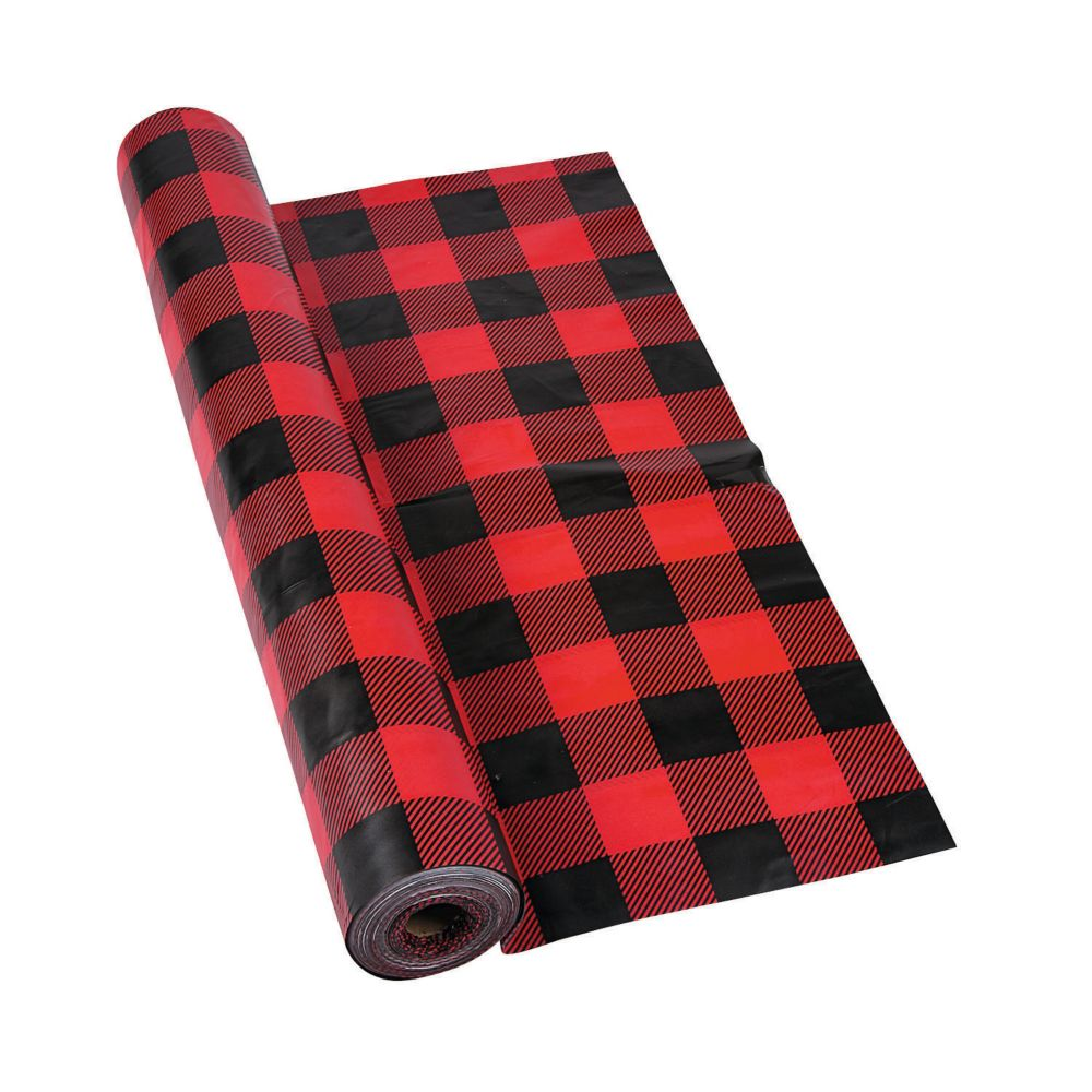 Buffalo Plaid Plastic Tablecloth Roll In 2020 1st Boy Birthday