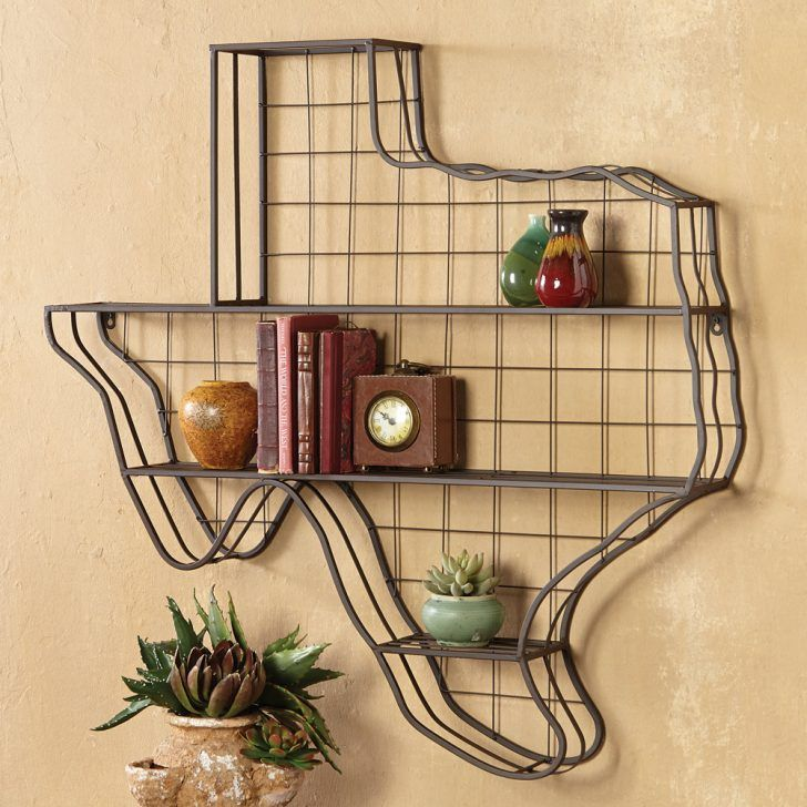 Wall Decor: Amazing Texas Map Metal Wall Shelves In Light Brown Wall ...