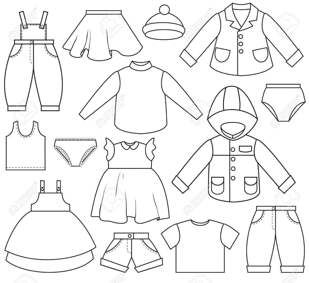 A Set Of Different Types Of Clothing Kids Outfits Coloring Pages Winter Coloring Pages