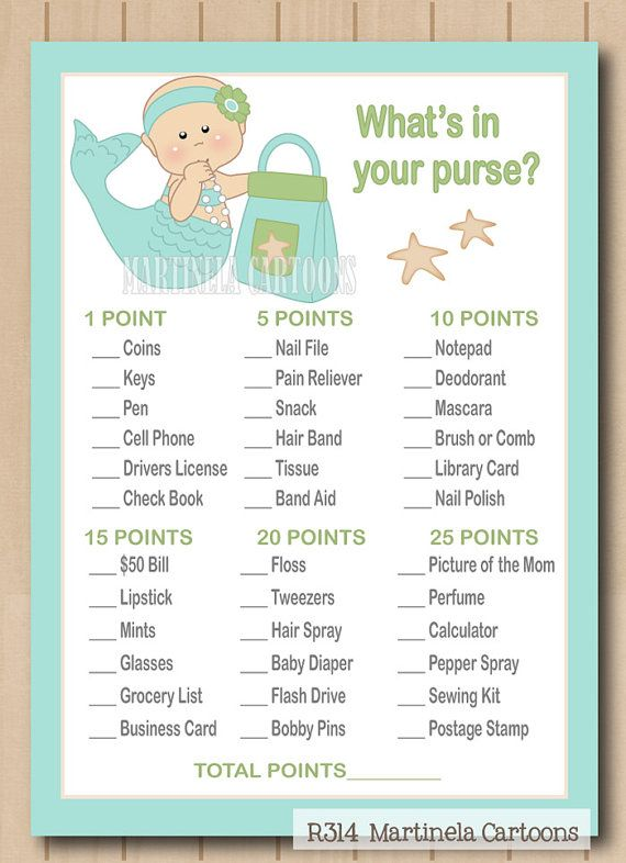 Under The Sea Mermaid Whats In Your Purse Baby Shower Game With