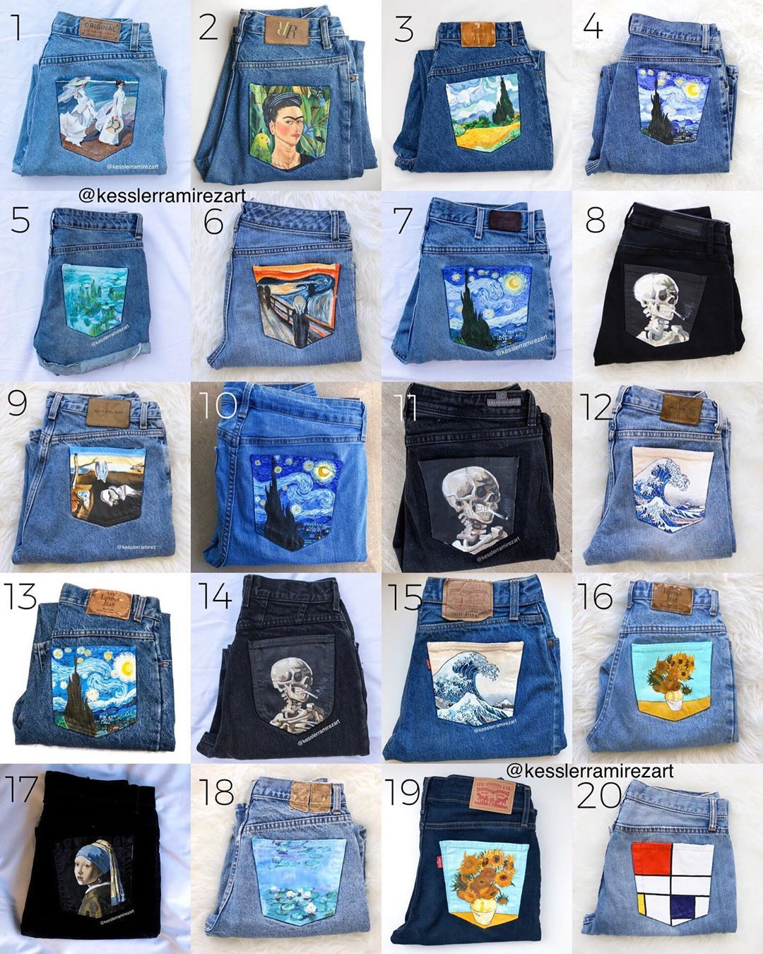 My Growing Collection Of Painted Jeans That I Ve Created Over The
