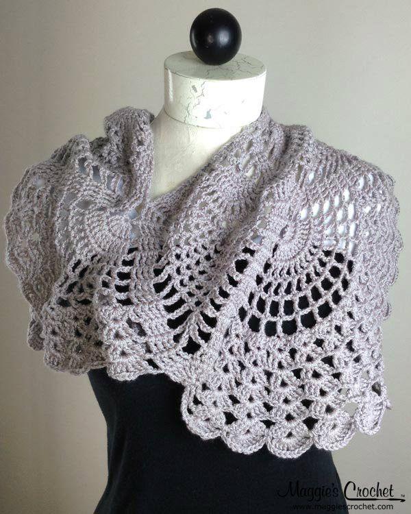 Pineapple Cowl Wrap Crochet Pattern PDF Download | Chal y Tejido