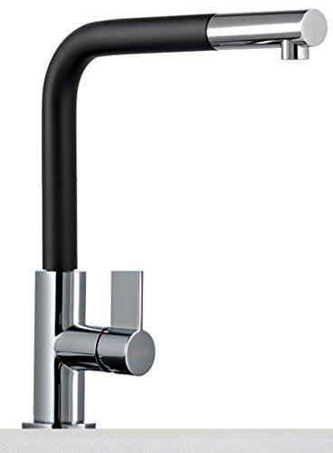 Franke Neptun Chrom Schwarz Armatur hoher herausziehbarer Auslauf - wasserhahn küche mit brause