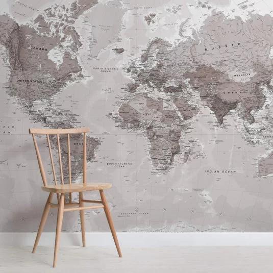 Neutral World Map Wallpaper | Stylish Map Mural | MuralsWallpaper #worldmapmural