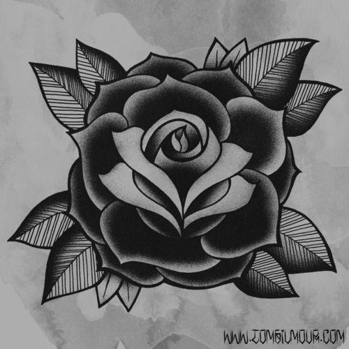 Rosa Negra Tradicional Tatuagens Tradicionais De Rosas