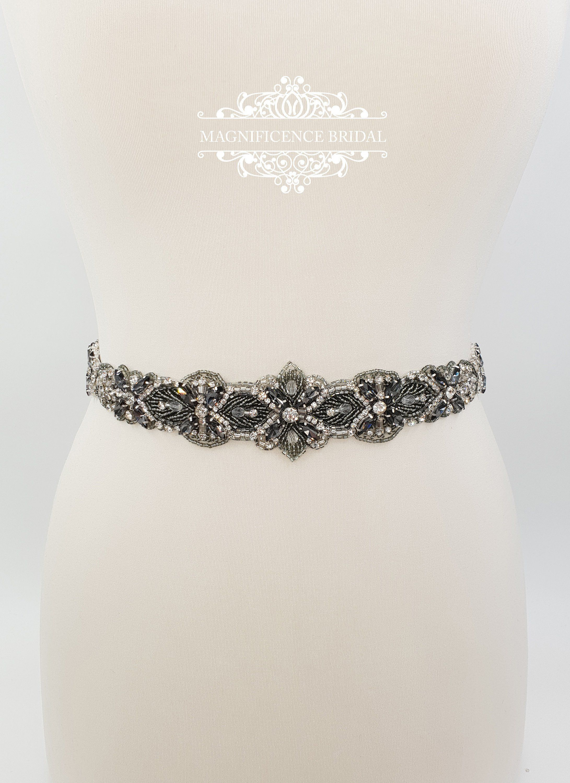 afef0bc892 Grey Bridal belt grey beaded belt black diamond black | Etsy ...