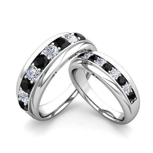 blackdiamond hisandhers Matching Wedding Bands Black and White