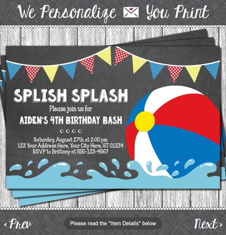 Beach Ball Birthday Invitation - Beach Ball Party, Splish Splash ...