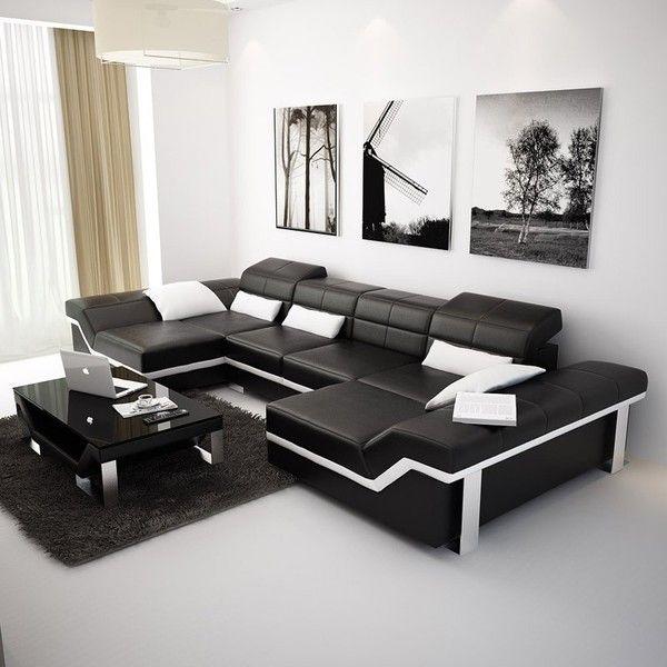 Surprising Large Black Modern Leather Sectionals Opulentitems Com Uwap Interior Chair Design Uwaporg