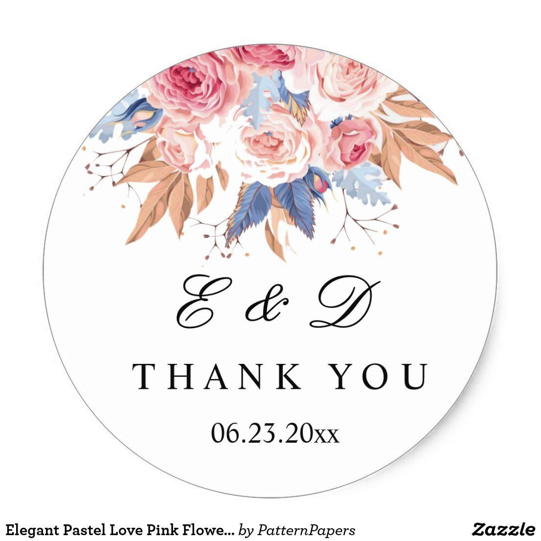 Elegant Pastel Love Pink Flowers Wedding Sticker In 2020 Wedding Stickers Wedding Stickers Labels Pink Wedding Flowers