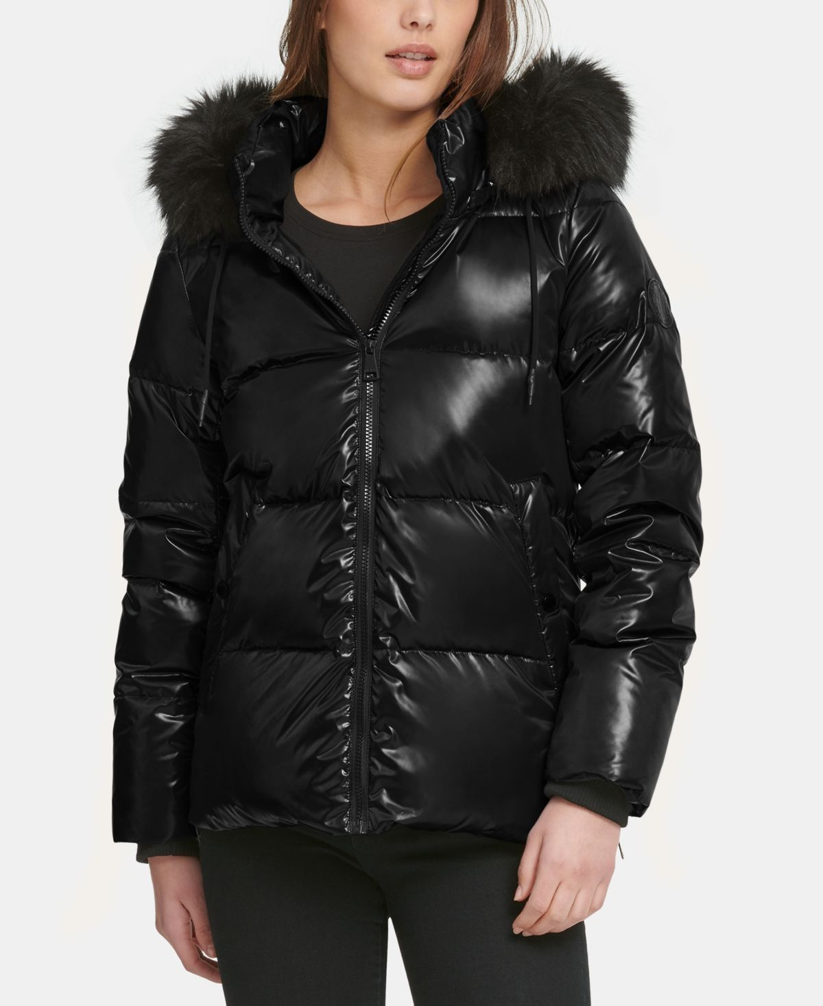 Dkny High Shine Faux Fur Trim Puffer Coat Black Puffer Coat Leggings Are Not Pants Coats For Women [ 1467 x 1200 Pixel ]