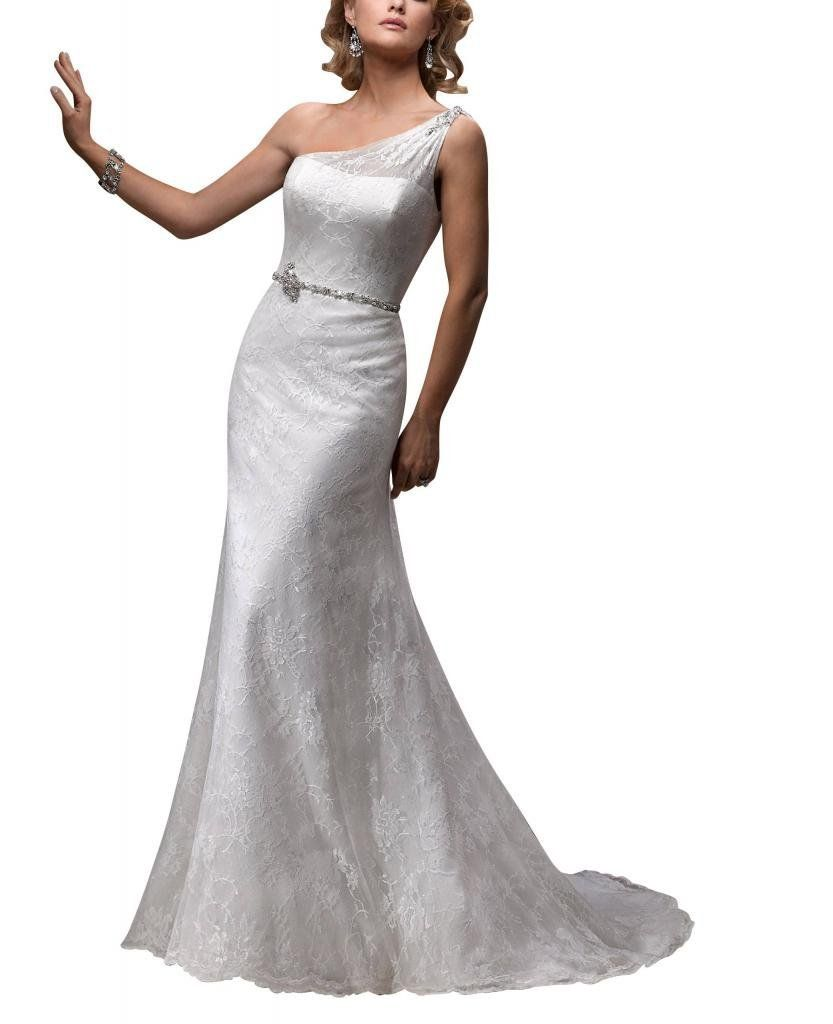 George bride one shoulder lace over satin court train wedding dress