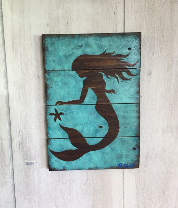 Lovely Mermaid Wall Decor   Painted Mermaid Art On Wood