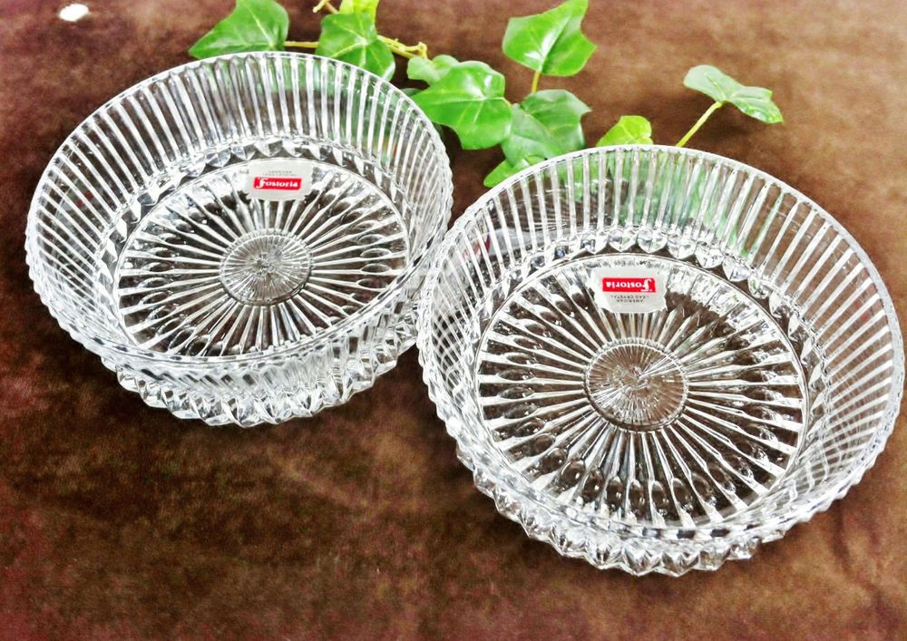 Vintage Fostoria Round Cut Glass Dishes Set of 2 Lead Crystal Collectible 1970s #Fostoria
