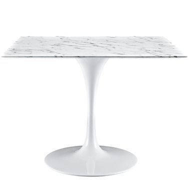 Lippa 40 Square Artificial Marble Top Metal Base Dining Table In White