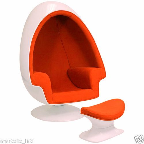 The Classic Egg Shell Chair Ottoman In Green Or Orange White