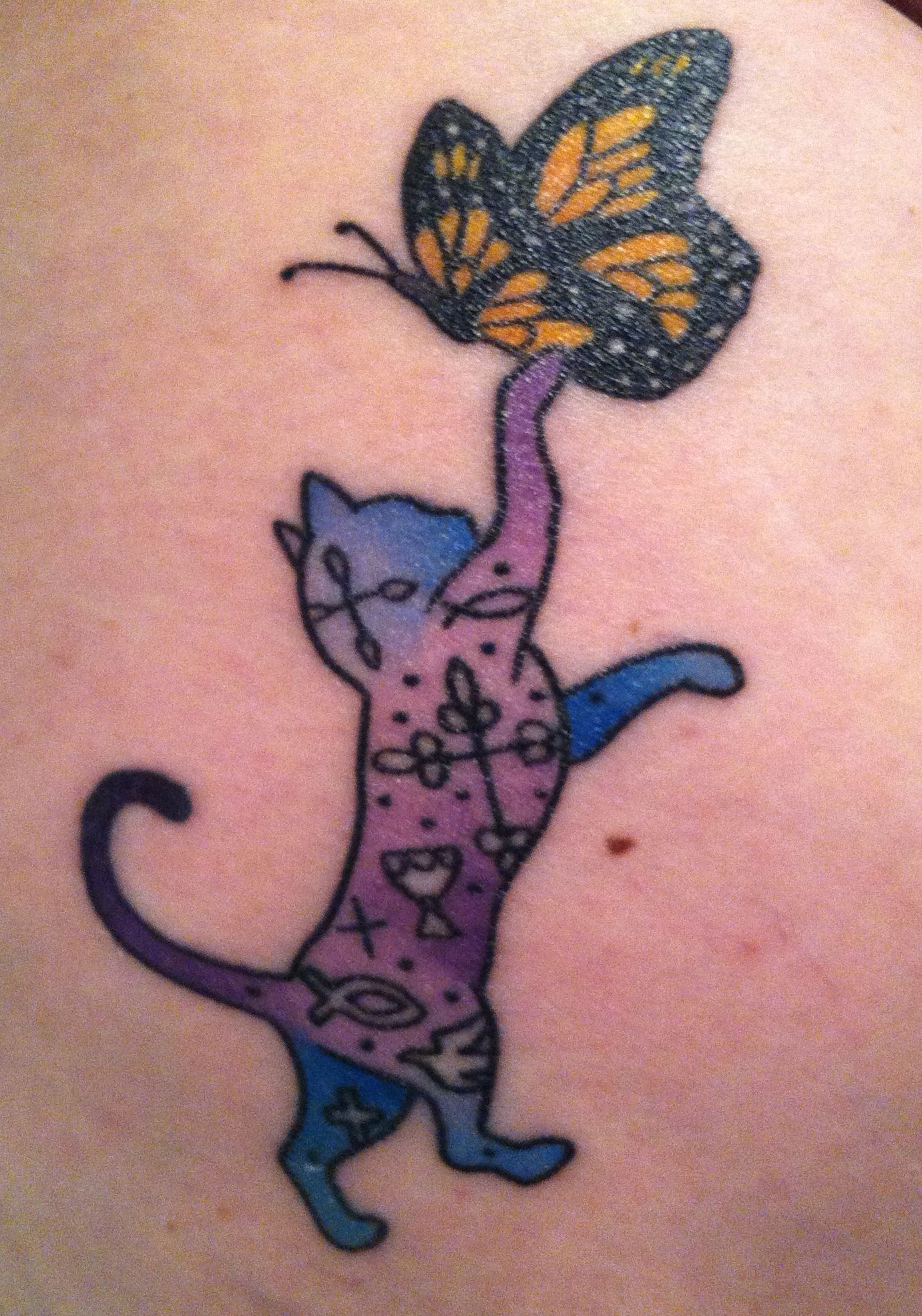 Purple Blue Cat Monarch Butterfly Very Special To Me For Lots Of Reasons Cute Cat Tattoo Cat Tattoo Tattoos