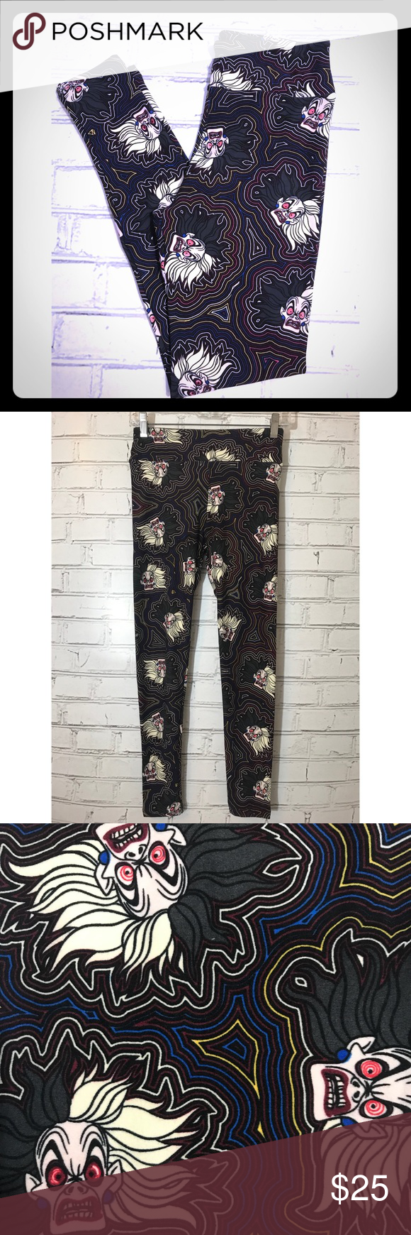 60d69191b02f62 LulaRoe, Disney Cruella Deville, OS Leggings Brand new. Buttery soft and  super comfortable! Featuring Cruella Deville from Disney's 101 Dalmatians.